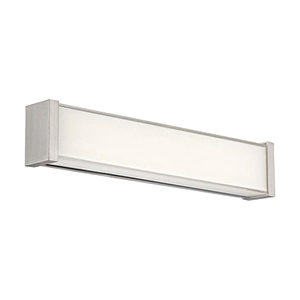 Svelte Brushed Nickel 16-Inch LED Bath Light with Thick Mitered Glass