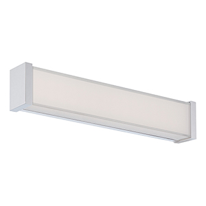 Svelte Chrome 16-Inch LED Bath Light with Thick Mitered Glass