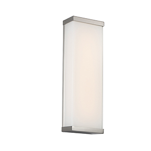 Float Brushed Nickel 18-Inch LED Wall Sconce with White Glass