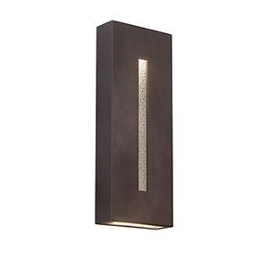 Tao Bronze 18-Inch LED Wall Light with Patterned Crystal Glass