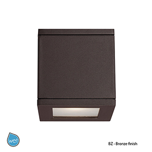 LED Outdoor Bronze Rubix Outdoor Wall Sconce with Etched Glass
