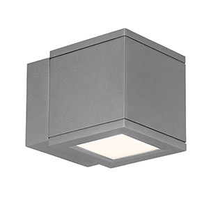 LED Outdoor Graphite Rubix Outdoor Wall Sconce with Etched Glass