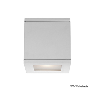 LED Outdoor White Rubix Outdoor Wall Sconce with Etched Glass