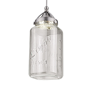 Mason-Early Electric Brushed Nickel Mason LEDme Monopoint Pendant with Clear Shade