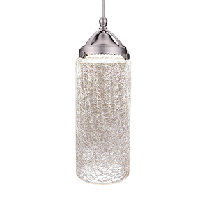 Mason-Early Electric Brushed Nickel Madison LEDme Monopoint Pendant with Clear Crackled Shade