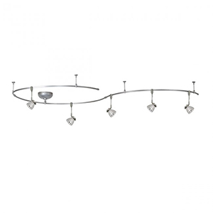 Brushed Nickel Five Light 8-Inch Solorail Fixture Kit