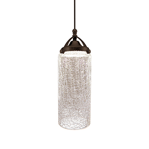 Madison Dark Bronze Clear Crackled Shade Glass LED Mini Pendant