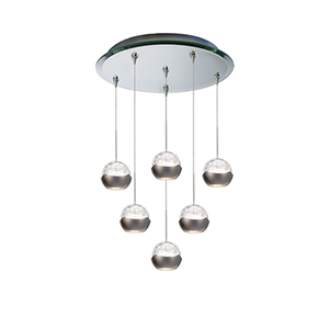 Genesis Six Light 17-Inch LED Pendant with Mirrored Canopy