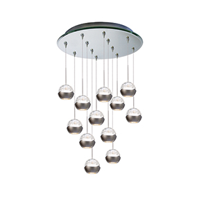 Genesis 12 Light 20-Inch LED Pendant with Mirrored Canopy