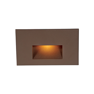 Bronze Rectangle Scoop LED Wall and Step Light with Amber Lens