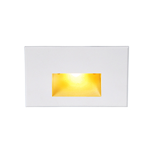 White Rectangle Scoop LED Wall and Step Light with Amber Lens