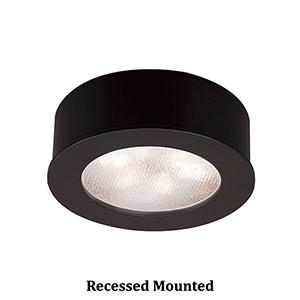 LEDme Button Lights Black Under Cabinet Fixture