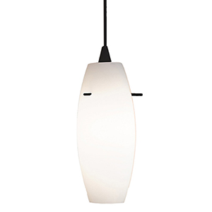 Bongo Black Energy Star LED Mini Pendant with White Art Glass