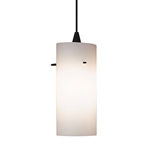 Dax Black Energy Star LED Mini Pendant with White Art Glass