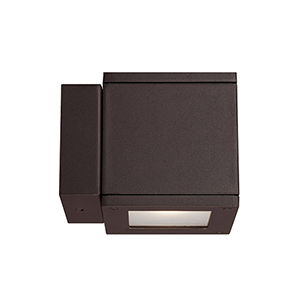 Rubix Bronze Energy Star LED Wall Light with White Diffuser Glass