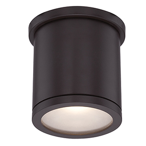 Tube Bronze 5-Inch Energy Star LED Flush Mount with White Diffuser Glass