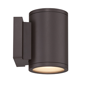 Tube Bronze Energy Star LED Wall Light with White Diffuser Glass