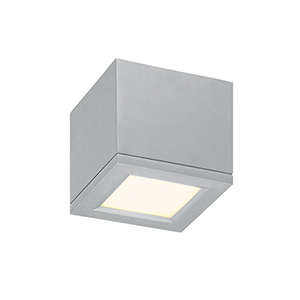 Rubix Brushed Aluminum 5-Inch Energy Star LED Flush Mount with White Diffuser Glass