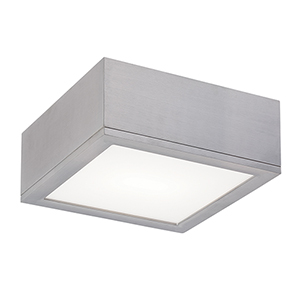 Rubix Brushed Aluminum 10-Inch Energy Star LED Flush Mount with White Diffuser Glass
