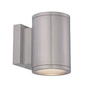Tube Brushed Aluminum Energy Star LED Wall Light with White Diffuser Glass