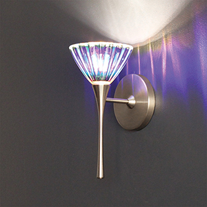 Eden Brushed Nickel LED Torch Wall Sconce with Dichroic Glass