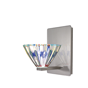 Eden Brushed Nickel One-Light Wall Sconce with Dichroic Glass
