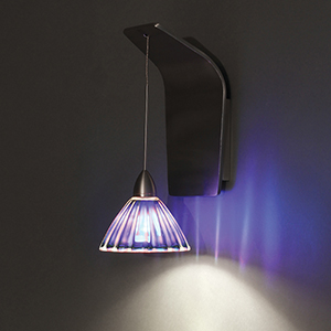 Eden Brushed Nickel LED Pendant Wall Sconce with Dichroic Glass