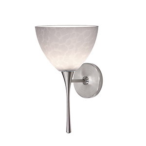Faberge Brushed Nickel LED Torch Wall Sconce with White Layered Glass