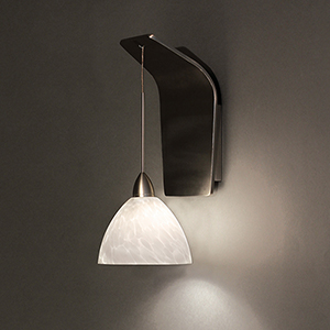 Faberge Brushed Nickel One-Light Pendant Wall Sconce with White Layered Glass
