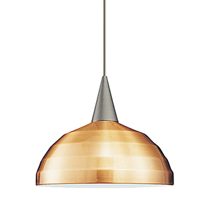 Felis Brushed Nickel Energy Star LED Mini Pendant with Copper Bronze Metal