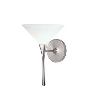 Jill Brushed Nickel LED Torch Wall Sconce with White  Blown Glass
