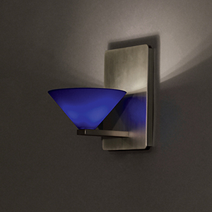 Jill Brushed Nickel One-Light Wall Sconce with Blue  Blown Glass