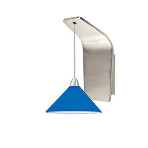 Jill Brushed Nickel LED Pendant Wall Sconce with Blue  Blown Glass