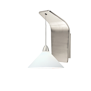 Jill Brushed Nickel LED Pendant Wall Sconce with White  Blown Glass