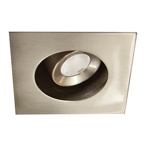 LEDme Brushed Nickel LED Square Mini Recessed Adjustable Light with 2700K Warm White