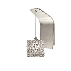 Mini Haven Brushed Nickel LED Pendant Wall Sconce with White Diamond   Glass