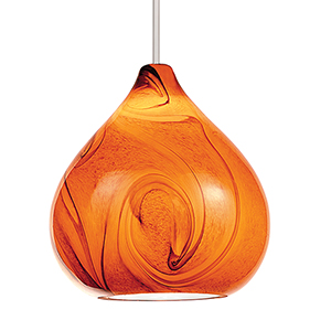 Truffle Brushed Nickel LED Mini Pendant with  Blown Glass