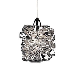Candy Chrome One-Light Mini Pendant with Silver Glass