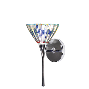 Eden Chrome LED Torch Wall Sconce with Dichroic Glass