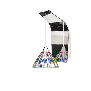 Eden Chrome One-Light Pendant Wall Sconce with Dichroic Glass