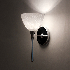 Faberge Chrome LED Torch Wall Sconce with White Layered Glass