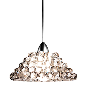 Giselle Chrome One-Light Mini Pendant with Black Ice Crystals