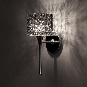 Mini Haven Chrome LED Torch Wall Sconce with Black Ice Eternity Glass