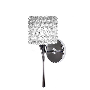 Mini Haven Chrome LED Torch Wall Sconce with White Diamond Eternity Glass