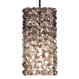 Haven Dark Bronze One-Light Mini Pendant with Black Ice Crystals