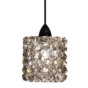 Mini Haven Dark Bronze One-Light Mini Pendant with Black Ice Crystals