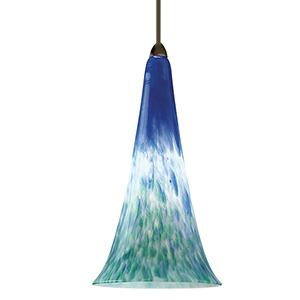 Passion Dark Bronze Blue Green LED Mini Pendant with Murine Art Glass