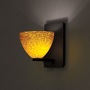 Faberge Rubbed Bronze LED Wall Wall Sconce with Amber Layered Glass