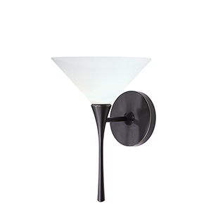 Jill Rubbed Bronze LED Torch Wall Sconce with White  Blown Glass