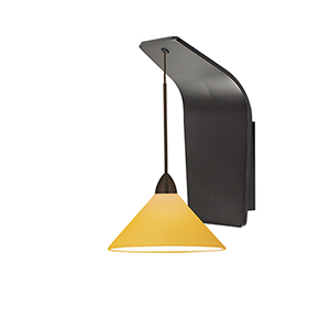 Jill Rubbed Bronze One-Light Pendant Wall Sconce with Amber  Blown Glass